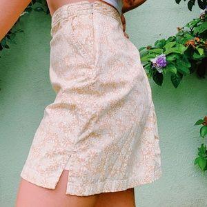 Brown and white flower mini skirt